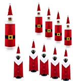 Blulu 10 Pieces Christmas Wine Bottle Covers Set, Santa Bottle Sweater, Bottle Dress Cap Clothes with Button Belt Decor for New Year Christmas Dinner Party Kitchen Decoration