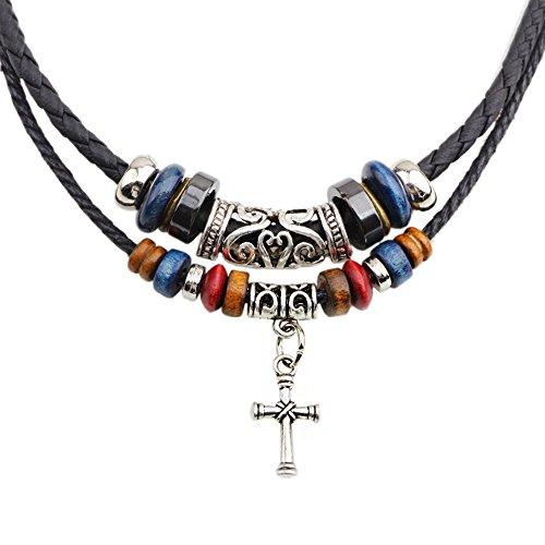 Vintage Cross - Vintage Cross Pendant Hemp Rope Leather Adjustable Necklace for Men and Women