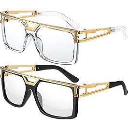 80s 90s Hip Hop Sunglasses Vintage Rapper DJ Glasses Hippie Glasses, Unisex (Black-clear, Clear)