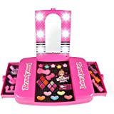 Liberty Imports Princess Girls All-in-One Deluxe Cosmetics Play Set   Palette Vanity with Mirror   Washable & Non Toxic Makeup Kit   Ideal Gift for Kids (Deluxe)