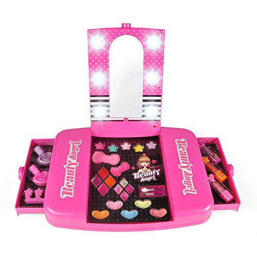 (Liberty Imports Princess Girls All-in-One Deluxe Cosmetics Play Set | Palette Vanity with Mirror | Washable & Non Toxic Makeup Kit | Ideal Gift for Kids (Deluxe))