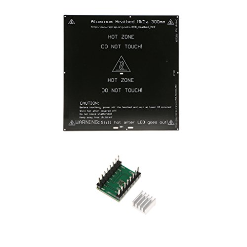 MagiDeal MK3 3mm Aluminium 12V 24V PCB Heated Bed Heatbed and Stepper Motor Driver ()