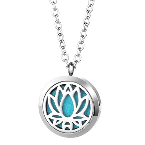 JOYMIAO Floating Charm Diffuser Pendant Inner Beauty Essential Oil Locket Necklace with 8 Refill Pads