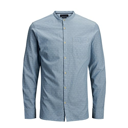 ed1a9695c04993 Jack   Jones Shirt Premium 12135106 Man Korean Slim Fit Light Blue Grey  Stripes Cotton