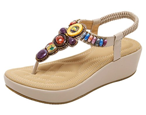 CAMSSOO Women's Round Peep Toe Bead Elastic T-Strap Bohemia Roman Sandals Summer Beach Thong Platforms Wedge Shoes Beige PU Size US9 - Platform Shoes Thong