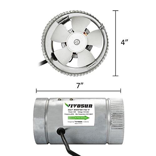 4 Inch Inline Fan Quiet : Vivosun inch inline duct booster fan cfm low noise