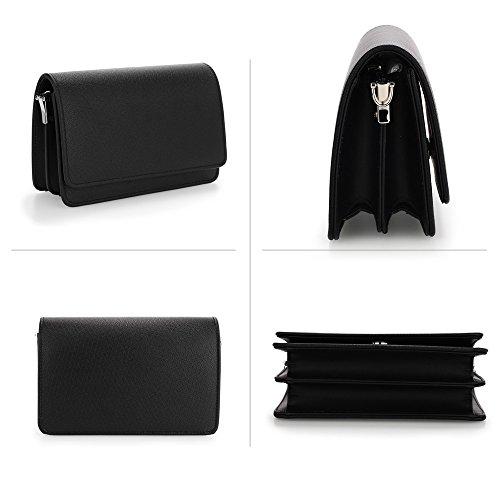 FREE Purse Fabulous Clutch Fabulous Black Flap Large UK Black DELIVERY 0qFBOY