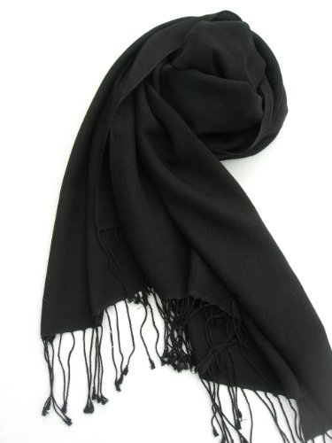 "Pashmina Silk Scarf Shawl Wrap 80"" L x 28"" W in 9 Color Options (Black)"