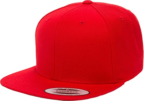 Yupoong 6089M Classic Snapback Pro-Style Wool Cap by Flexfit - One Size (Red)
