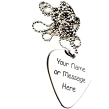 Personalized Stainless Steel Guitar Pick Necklace - Custom Any Message - Custom Gift