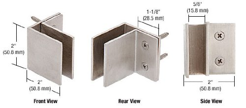 C.R. LAURENCE MFCW11 CRL Brushed Stainless Wall Mount Square Mall Front Clamp