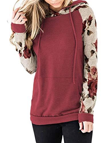 (XXXITICAT Women's Flowers Long Sleeve Hooeded Striped Sweatshirt Patchwork Zipper Stitching Sports Pullover Tops Hoodies(RE,3XL) )