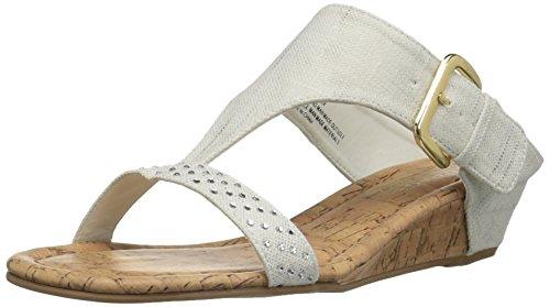 Rampage Women Sheryl Demi Wedge T-Bar Slip-On Thong Sandal Natural/Gold Canvas