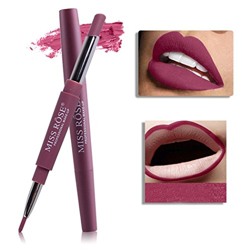 Chiak Long Lasting Waterproof Double Head Lipstick Stick and Lip Liner Makeup Tools Lipstick