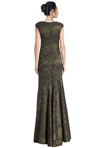 Teri Jon Beaded Shoulder Sleeveless Evening Gown Dress