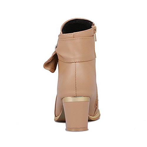 Kitten AllhqFashion PU Womens Heels Solid Zipper Boots Low Top Apricot pYpwqr