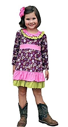 Amazon.com  Heather Hill Little Girls  Plum Ruffle Boutique Dress (6 ... f4ec6b466