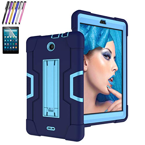Mignova for Alcatel 3T/A30 8-inch Tablet 2018 Released,Heavy-Duty Drop-Proof and Shock-Resistant Rugged Hybrid case (with Built-in Stand)+Screen Protector and Stylus (Navy+Blue)