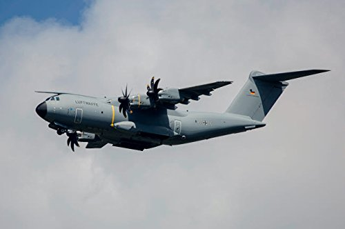 German Air Force Airbus A400M transport plane flying over Neuberg Germany Poster Print by Timm ZiegenthalerStocktrek Images (34 x 22)