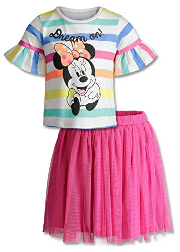 (Dinsey Minnie Mouse Baby Girls' Fashion T-Shirt & Tulle Skirt Set (Rainbow, 24 Months))
