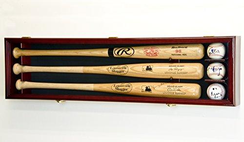 3 Baseball Bat Display Case Cabinet Holder Wall Rack Custom Options 98% UV - Lockable (Cherry Wood...