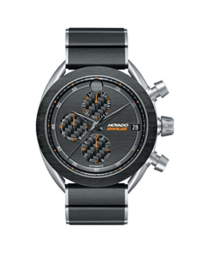 Men's Movado Parlee 0606856 Titanium and Carbon Fiber Case and Link Bracelet