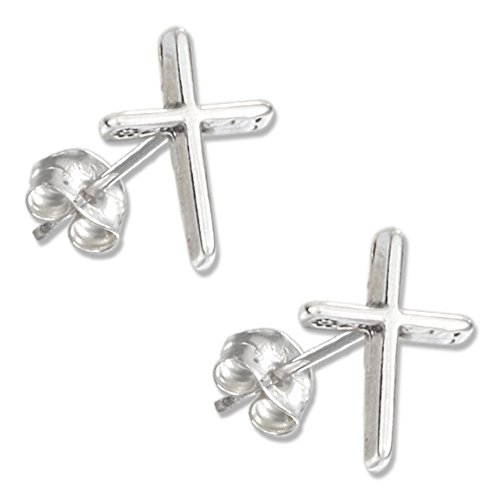Sterling Silver Mini Flat Cross Earrings on Stainless Steel Posts and Nuts