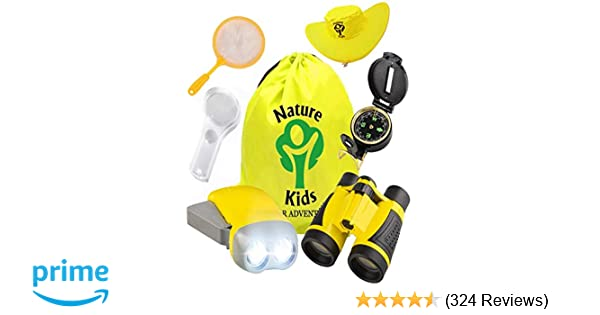 Flashlight Compass Magnifying Glass Butterfly Net Backpack Great Kids Gifts Set For Birthday Camping Hiking And Educational Toys Games