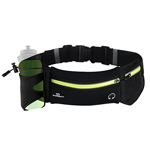 SHANSHUI Running Belt Waist Pack, Water Resistant Fanny Pack Light-Reflective for Running Climbing Hiking Sports Fitness,with Water Bottle Holder Phone Holder for iPhone Samsung and Most Smartphones