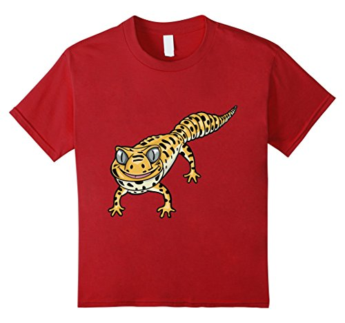 Kids Cute Smiling Leopard Gecko Lizard Cartoon T-Shirt 4 ...