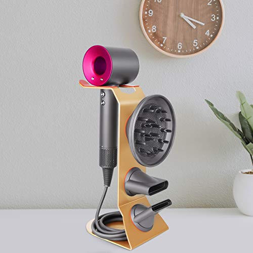Fle Hair Dryer Stand Holder, Gold Hair Blow Dryer Stand Rack Organizer Compatible for Dyson Supersonic Hair Dryer, Diffuser, Nozzle by Fle (Image #1)