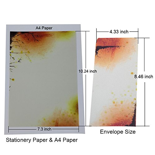 40 Pcs Letter Writing Stationery Paper Letter Set, with 20 Pcs Envelopes, Ink Painting Design Assorted Color (40 Stationeries + 20 Envelopes) by NUIBY (Image #3)