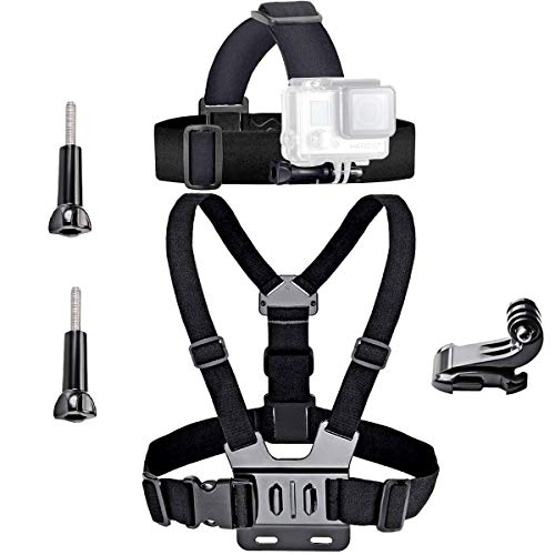 VVHOOY Universal Head Strap Mount Chest Harness and Screw Adapter Compatible with VanTop,AKASO,Dragon Touch,APEMAN,Crosstour and More,Outdoor 4K Action Camera Accessories Bundle Gift Kit Set