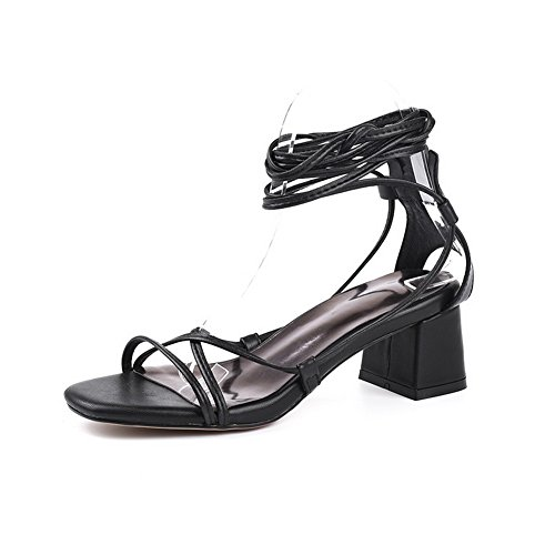 BalaMasa Womens Sandals Peep-Toe Ankle-Wrap Soft-Ground Huarache Urethane Sandals ASL04481 Black hTjIZQ