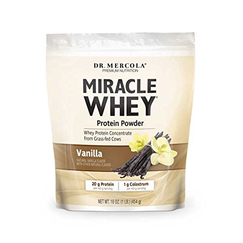 Dr. Mercola Miracle Whey Vanilla Protein Powder - Great Tasting Whey Protein Mix - Naturally Flavored And Colored - Certified GMO, Pesticide, and Chemical-Free - 1 lb Gusset Bag (454 g)