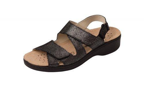 Orthopädische-Sandale mit schwarz auswechselbarem Fußbett schwarz mit metallic 2a6284