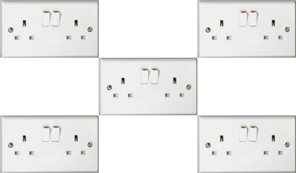 Pack of 5 x Deta S1209SDP Twin 13a Switched Sockets (Double Pole)