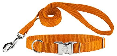 Country Brook Design   Premium Nylon Dog Collar and Leash - Orange - Extra Large