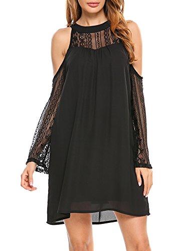 ACEVOG Womens Cold Shoulder Hollow Lace Long Sleeve Patchwork Top Shirt Dress Chiffon Dress
