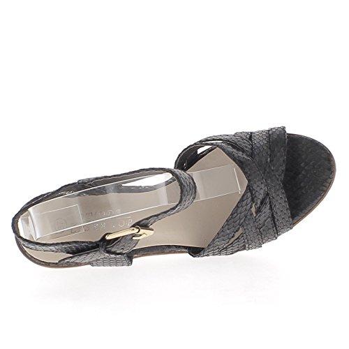 Schwarze Sandalen 11,5 cm-Keilabsatz und Plattform