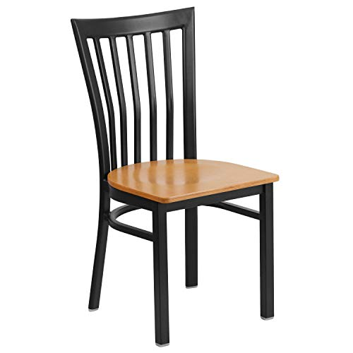 MFO Princeton Collection Black School House Back Metal Restaurant Chair - Natural Wood - Restaurant Schoolhouse Chairs