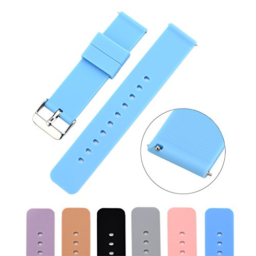 MLQSS Soft Silicone Watch Band with Quick Release Pins - Choice Color & Width (18mm, 20mm or 22mm) Watch Straps w/Adjustable Metal (2nd Colour)