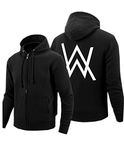Kigcos Alan Walker Logo Unisex Zip Hoodies Cosplay Costome (Medium, Black)