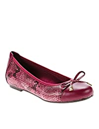 Vionic with Orthaheel Technology Women's Minna Ballet Flat,Raspberry Snake,US 8