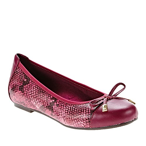 Vionic Womens 359 Minna Leather Shoes Raspberry Snake