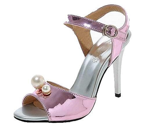 VogueZone009 Women Pu Buckle Open-Toe High-Heels Solid Sandals, CCALP015363 Pink