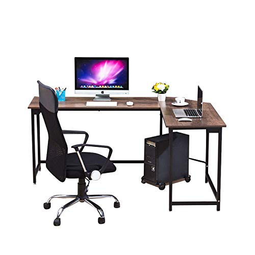 WESTEROS Modern L-Shaped Corner Computer Office Desk PC Laptop Table Workstation Home Office, Walnut + Black Leg