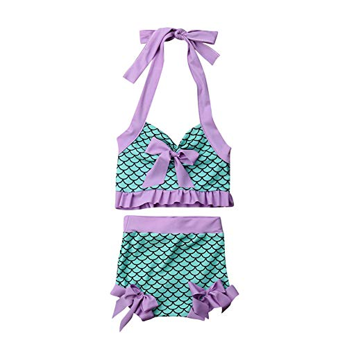 Toddler Baby Girl Mermaid Swimsuit Fish Scale Halter Crop Top+Shorts Swimming Beach Wear Bikini Tankini Sunsuit(Green, 1-2T)]()