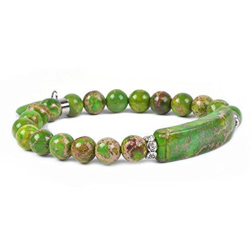 Lime Crystal Bracelet - Dyed Green Sea Sediment Jasper Gem Semi Precious Gemstone Love Heart Charm Stretch Bracelet