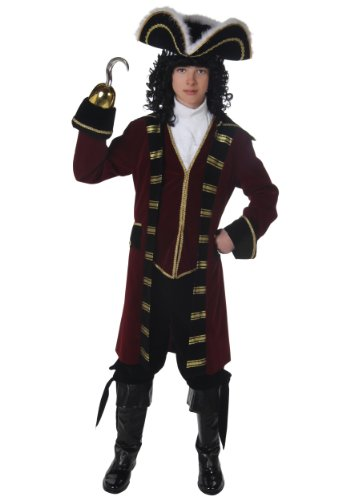 Child Captain Hook Neverland Pirate Deluxe Costume Teen Maroon